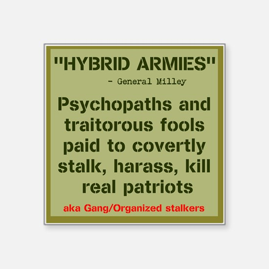 "HYBRID ARMIES Square Sticker 3"" x 3"""