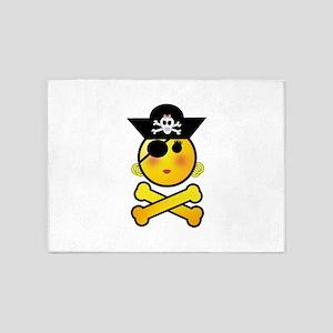 Pirate Girl Emoticon 5'x7'Area Rug