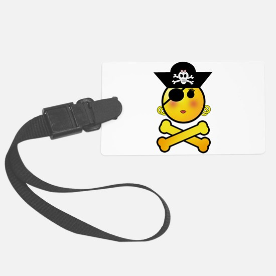 Pirate Girl Emoticon Luggage Tag