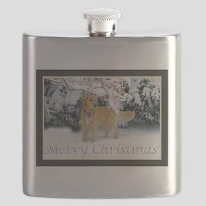 Golden Retriever Merry Christmas Flask