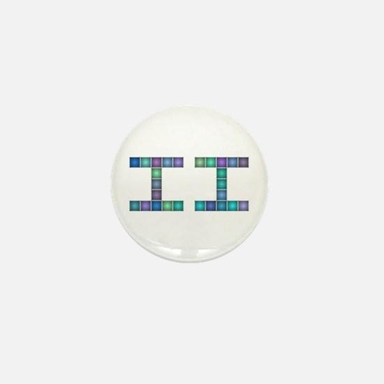 II (Two) (Pixels) (Blue) Mini Button