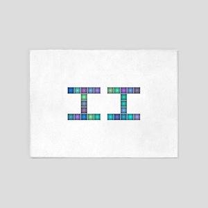 II (Two) (Pixels) (Blue) 5'x7'Area Rug