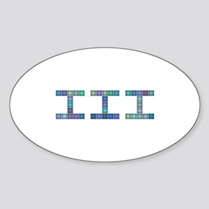 III (Three) (Pixels) (Blue) Sticker