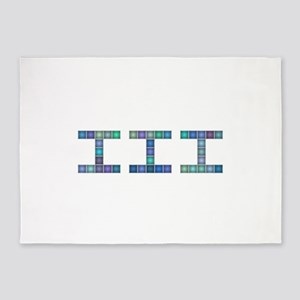 III (Three) (Pixels) (Blue) 5'x7'Area Rug