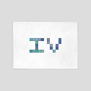 IV (Four) (Pixels) (Blue) 5'x7'Area Rug