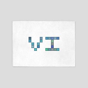 VI (Six) (Pixels) (Blue) 5'x7'Area Rug
