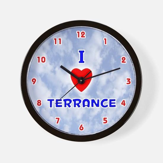I Love Terrance (Red/Bl) Valentine Wall Clock