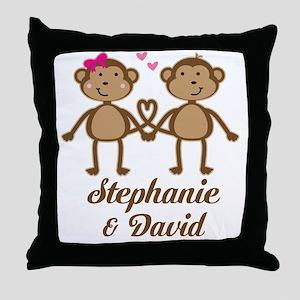 Monkey Couple Personalized Gift Throw Pillow