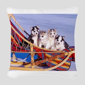Husky Puppies Woven Throw Pillow
