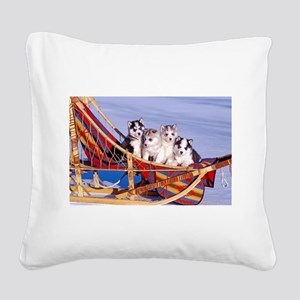 Husky Puppies Square Canvas Pillow