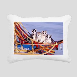 Husky Puppies Rectangular Canvas Pillow