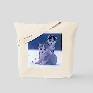 Husky puppies at play Tote Bag