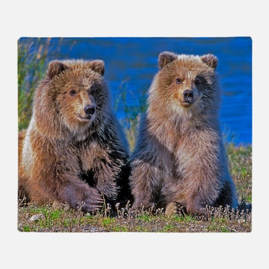 Grizzly twin Cubs Throw Blanket