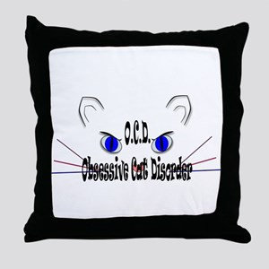 O.C.D. Obsessive Cat Disorder Throw Pillow