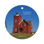 Two Harbors Lighthouse Round Ornament