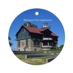 Michigan City Lighthouses Round Ornament