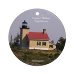Copper Harbor Lighthouse Round Ornament