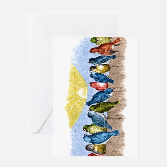 Birds Fence BT Greeting Cards