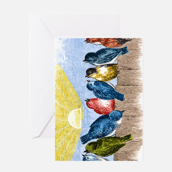 Birds Fence MP Greeting Cards