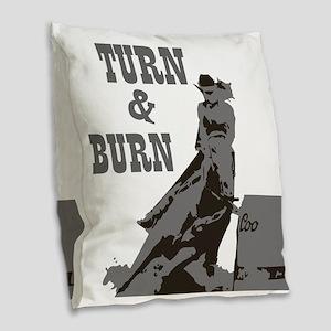Barrel Racer: Turn & Burn Burlap Throw Pillow