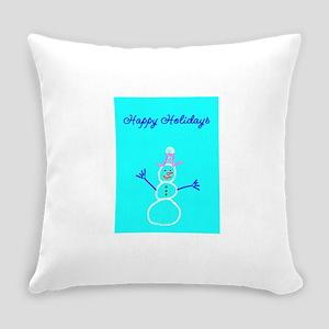 Happy Holidays Snowman Frozen Scul Everyday Pillow