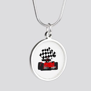 Red Race Car with Checkered Flag Necklaces