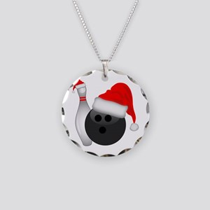 Christmas Bowling Necklace Circle Charm