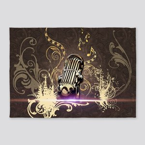 Music, microphone with flowers and floral elements
