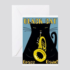 Black Cat Brass Band Greeting Cards