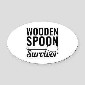 Wooden Spoon Survivor Oval Car Magnet