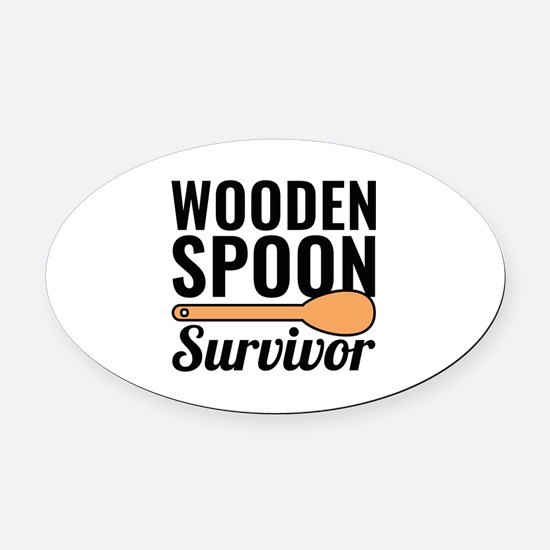 Wooden Spoon Survivor Oval Car Magnet