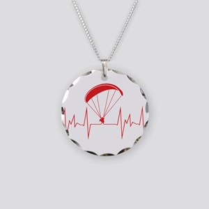 heartbeat paragliding Necklace Circle Charm