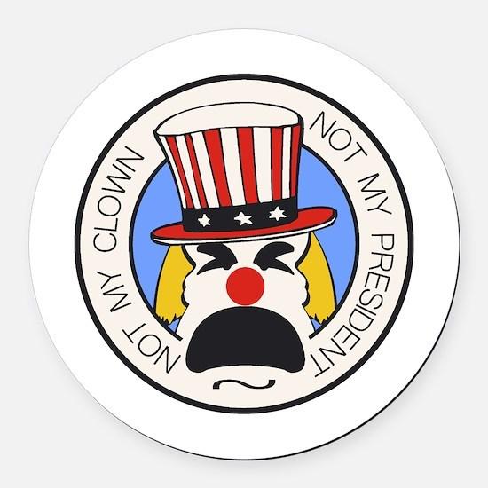 Not My Clown Round Car Magnet