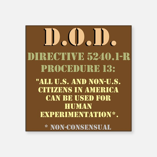"DOD Directive Square Sticker 3"" x 3"""