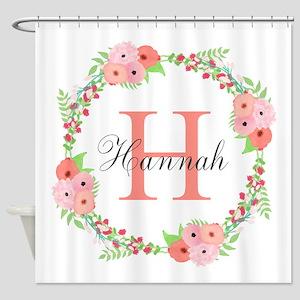 Watercolor Floral Wreath Monogram Shower Curtain