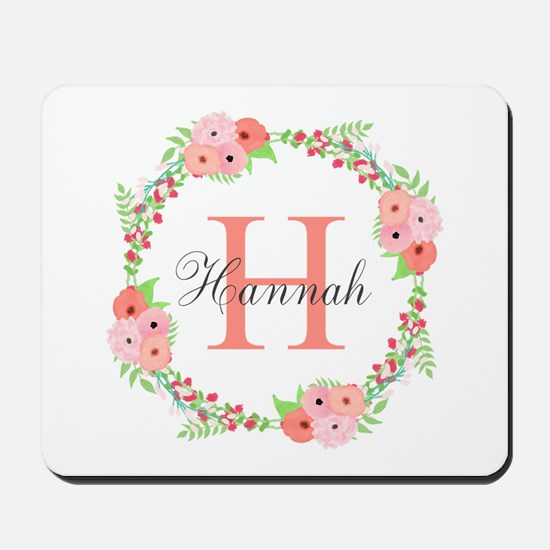 Watercolor Floral Wreath Monogram Mousepad