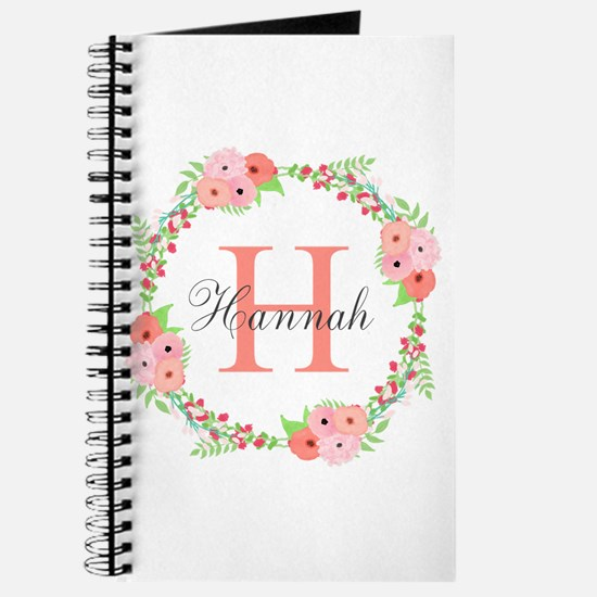 Watercolor Floral Wreath Monogram Journal
