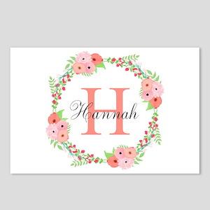 Watercolor Floral Wreath Monogram Postcards (Packa