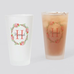 Watercolor Floral Wreath Monogram Drinking Glass