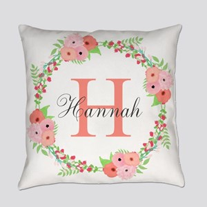 Watercolor Floral Wreath Monogram Everyday Pillow