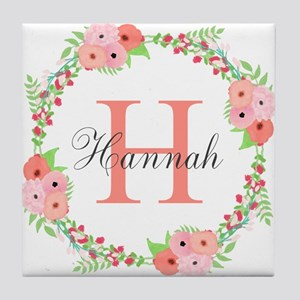 Watercolor Floral Wreath Monogram Tile Coaster