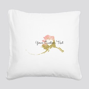 Personalized Alaska State Square Canvas Pillow
