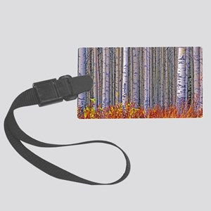 Aspen forest in autumn Large Luggage Tag