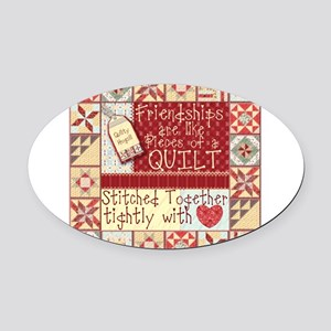 Quilting Friendships Oval Car Magnet