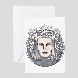 Winter Frost Goddess Greeting Cards