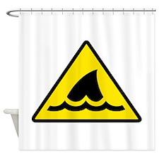 Shark Warning Sign Shower Curtain
