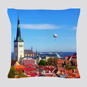 Flying Ball of the Sky Woven Throw Pillow