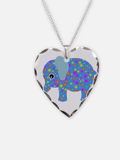 Blue Elephant Polka Dot Flowe Necklace