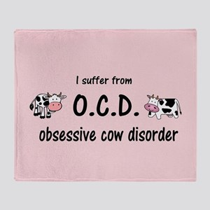 Obsessive Cow Disorder Throw Blanket