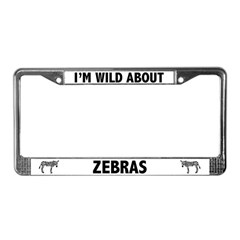 Wild About Zebras License Plate Frame